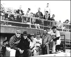 When Rosenblatt was Municipal Stadium. At the first game, from left:  Steve Rosenblatt; Rex Barney; Bob Hall, owner of the Omaha Cardinals; Duce Belford, Brooklyn Dodgers scout and Creighton athletic director; Richie Ashburn, a native of Tilden, Neb.; Johnny Rosenblatt; and Johnny Hopp of Hastings, Neb.