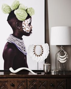 (White Tribal Scalloped Shell Neckpiece - Home By Tribal) Tribal Home Decor, Ethnic Decor, African Home Decor, Ethnic Chic, African Interior Design, African Design, African Art, African Style, Safari Chic