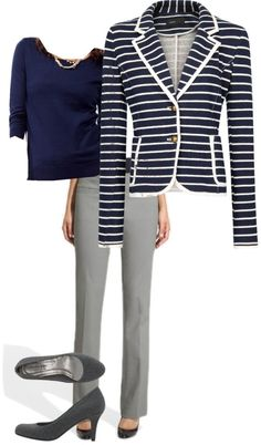 """""""Gray and Navy"""" by looplooks on Polyvore"""