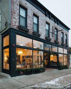 Stoffer home shop exterior store front brick store, holiday hours, shop interiors, brick Shop Interior Design, Cafe Design, Retail Design, Fixer Upper Style, Cafe Exterior, Rustic Exterior, Exterior Signage, Craftsman Exterior, Cottage Exterior