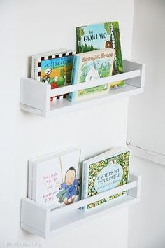 Ikea spice racks as forward-facing bookshelves for my nursery! I could literally fill 20 of these! Ikea spice racks as forward-facing bookshelves for my nursery! Ikea Spice Racks As Book Shelves, Spice Rack Bookshelves, Book Racks, Bookshelves Kids, Ikea Book Rack, Ikea Spice Rack Hack, Baby Shelves, Bookshelf Ideas, Book Storage