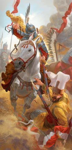 Hussar attack on Ottoman camp during the siege of Vienna Poland History, Art History, Military Art, Military History, Templer, Knight Art, Medieval Fantasy, Sci Fi Art, Middle Ages