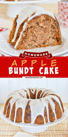 Apple Bundt Cake - a drizzle of apple cider glaze and two times the apple makes this easy apple bundt cake recipe taste amazing. Great apple cake to make for fall. Caramel Bits, Caramel Apples, Bunt Cakes, Cupcake Cakes, Cupcakes, Fall Desserts, Dessert Recipes, Apple Desserts, Easy Apple Cake