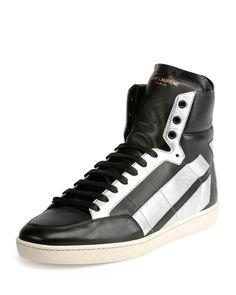 Star-Back Leather High-Top Sneaker, Black/Silver, Women's, Size: 44EU/11US - Saint Laurent