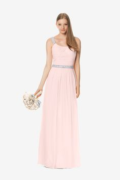 Lauren bridesmaid gown by David Tutera for Gather & Gown.  Rose Quartz Chiffon with shimmer beading.