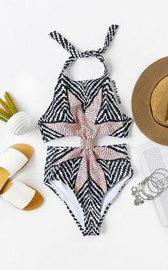 Tribal Print Cutout One-Piece Swimwear - Grey