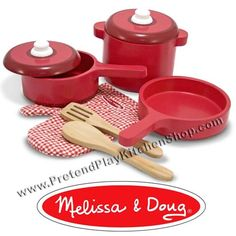 Kitchen Accessory Set, Play Kitchen Pots and Pans 8 piece set by Melissa and Doug. This accessory set if perfect companion to our play kitchens. Wooden Kitchen Set, Wooden Play Food, Red Kitchen, Kitchen Ware, Cheap Kitchen, Kitchen Utensils, Cuisinières Vintage, Play Kitchen Accessories, Electronics Accessories
