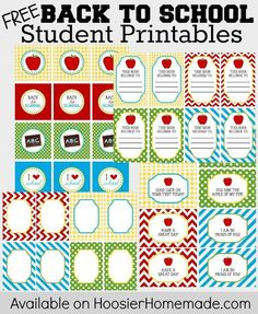 FREE Back to School Student Printables :: Available on HoosierHomemade.com