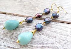 Freshwater blue pearl earrings, long drop earrings, turquoise amazonite earrings, dangle earrings, gemstone jewelry, modern jewelry, bijoux