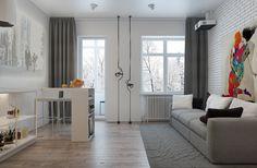 интерьер небольшой квартиры-студии 32,5 кв. м.