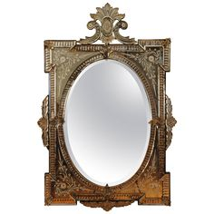 Italian Second Half of 19th Century Venetian Etched Glass Mirror | From a unique collection of antique and modern mantel mirrors and fireplace mirrors   This is on hold but sent second hold 50 x 33