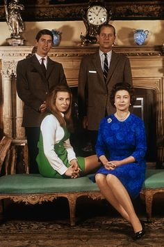 This is an image of Prince Charles, Prince Philip, Duke of Edinburgh, Princess Anne and Queen Elizabeth II. English Royal Family, British Royal Families, British Family, Reine Victoria, Queen Victoria, Royal Family Portrait, Family Portraits, Prince Charles, Elizabeth Queen