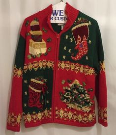 Ugly Christmas Sweater Cardigan Tiara International Size L Stockings Xmas Tree #TiaraInternational #Cardigan