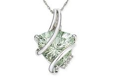 Trillion Cut Green Amethyst and Diamond 14K White Gold Pendant w/Chain