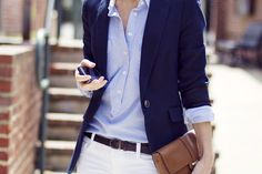 White Jeans, Chambray collar shirt, dark blue blazer, black belt and shoes