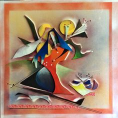 """""""Rote Vase II"""", 60x60, Holz, Farbe, Zeichnung auf Leinwand, W. Schieweck"""