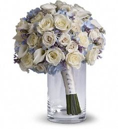 white roses, mini calas, and light blue hydrangea $202.95