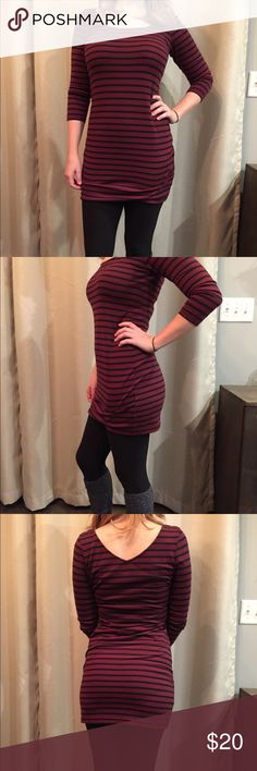 Burgundy/Wine Striped Tunic Burgundy/Wine Striped Tunic. Size Medium. 3/4 Sleeves. Tops Tunics