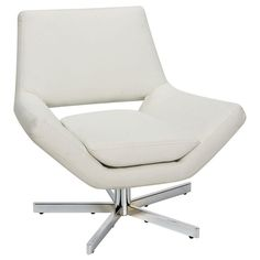 Ave Six Yield Wide Modern Faux Leather Lounge Chair with Chrome Finish Steel Base - White White Leather Office Chair, White Desk Chair, Office Chair Cushion, Faux Leather Sofa, Leather Chairs, Chair Cushions, Chair Pads, Faux Fur, My Living Room