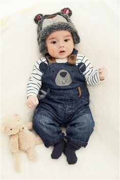Bear Denim Dungarees (0-18mths) (NEXT)