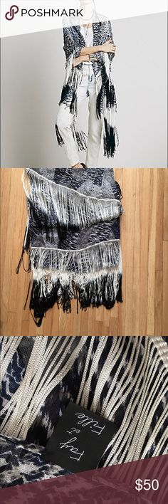 Free People Blue Gray Ombré Shawl Wrap Fringe Beautiful oversized wrap shawl with ombré fringe. Purchased at Free People. So gorgeous but always looked too boho for my style. Free People Accessories Scarves & Wraps