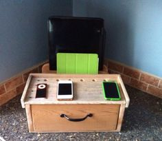 Charging/Docking Station from Recycled Pallets by PicketCreations - Etsy - A great find for a great price. Not store-bought perfect, which is just perfect! Can't wait to get it.