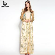 Women's Elegant Long Sleeve Floor Length Banana leaves Sequined Bodycon Lace Long Dress Who like it ? www.sukclothes.co... #shop #beauty #Woman's fashion #Products