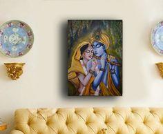 Original Radha Krishna painting Large Ready to hang by RishStudio