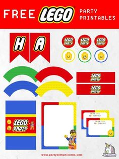 Are you planning a Lego Party? Download this free set of Lego Party Printables to use at your event. The set includes lego party invitations, Lego cupcake toppers, Lego cupcake wrappers, Lego birthday Banner, Lego chocolate bar wrappers, Lego thank you cards and Lego water bottle labels. #lego #legoparty #legopartyprintables #legoinvitations #legobirthdayparty #legobanner