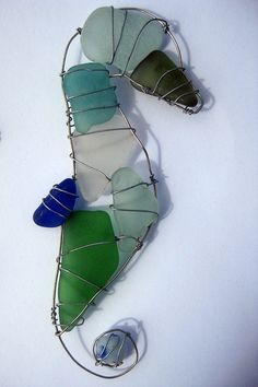 Seaglass Seahorse ~~ use as a center piece to a wind chime!