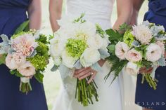 I like the look of these (minus the green hydrenga in the bride's bouquet- looks out of place).