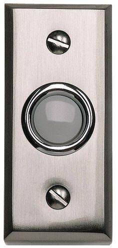 Atlas Homewares DB644 Mission Lighted Button Doorbell Brushed Nickel Door Bell Lighted Button