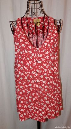 MAEVE TOP 10 Red White Floral Admore Swing Tank Sleeveless Buttons ANTHROPOLOGIE #Maeve #TankCami #Casual