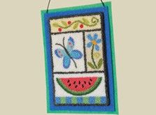 Summer Days Punch Needle Hanging has sweet blooms, butterfly, and watermelon. Create it today for yourself or a friend!