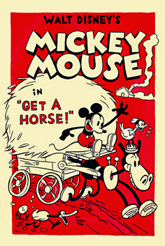 Walt Disney Animation Studios released the poster today for its new short Get a Horse! that will debut next week at the Annecy International Animated Film Festival. The short features a vocal track by Walt Disney himself as the voice of Mickey. Walt Disney Mickey Mouse, Mickey Mouse Vintage, Disney Micky Maus, Mickey Mouse Cartoon, Minnie Mouse, Vintage Cartoons, Old Cartoons, Vintage Comics, Vintage Art