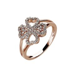 Oxette Silver 925 Ring with zircons - Available here http://www.oxette.gr/kosmimata/daktulidia/ster.silv.rosegold-pl.ring-clover-white-cz-oxette-614l-1/     #oxette #OXETTEring #jewellery