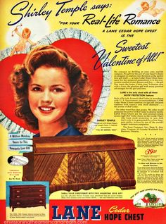 vintage valentine's day ad For Lane Cedar Chests With Shirley Temple