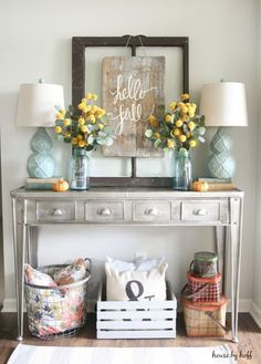 Farmhouse Home Decor | Rustic Decor | Entryway Table Decor | Fall Decor | Blue and Yellow Home Decor