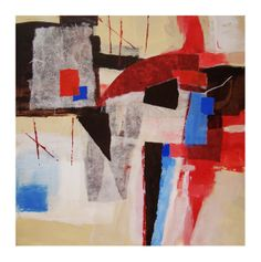"Spanish Red by Joan Gillman Smith. Acrylic and collage, 16x16"" on board with 2inch cradle."