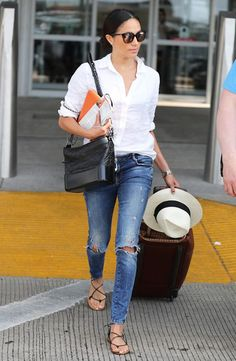 On Meghan Markle: J.Crew Perfect Shirt in Piece-Dyed Irish Linen ($70), Leather Lace-Up Sandals ($88), and Franny Sunglasses ($101); Chanel bag.
