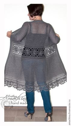 Crochet Cardigan Diagrams - The Crocheting Placeen russe mais il y a les diagrammes ! This is where I WANT to be in three yearspretty crochet jacket in blackThis Pin was discovered by Еле Gilet Crochet, Crochet Coat, Crochet Jacket, Crochet Cardigan, Crochet Shawl, Crochet Clothes, Crochet Fashion, Beautiful Crochet, Pulls