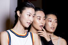Backstage at the Peter Som Spring 2015 fashion show.