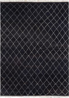 Hand-knotted Arlequin Black Wool Rug