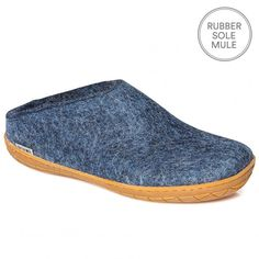 "Glerups Felt Rubber Sole Mule - Denim  Nanny Glerup describes her Danish slippers as ""beautiful, natural and warm"". We would also add that they are practical, beautifully made and long lasting.  The rubber soled Glerups mule is a non-slip slipper that is as supple as calf skin but ideal if you want to nip outside. They are by far the most stylish and understated house shoes we've ever had the pleasure to pad around in.  Made of 100% pure natural wool with a sole of soft rubber."