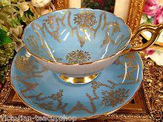 COALPORT TEA CUP AND SAUCER BLUE GARLAND PATTERN TEACUP GOLD GILT