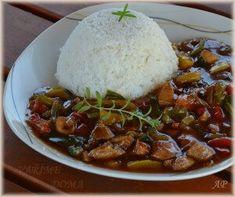 Letní ala Čína   Vaříme doma Meat Recipes, Cooking Recipes, Seitan, Wok, Stew, Grains, Food And Drink, Low Carb, Menu