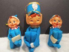 Vintage Christmas Knee Hugger Pixie Elf Lot 3 Nice Elves in Blue Japan | eBay