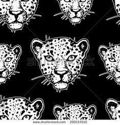 Seamless pattern with leopards. Vector seamless texture for wallpapers, pattern fills, web page backgrounds - stock vector