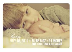 "Birth Announcement Photo Card - ""Welcome"" (7x5)"