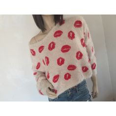 Paper Heart for LF Lips Sweater Paper Heart LF cream colored sweater with red lips. Unbelievable soft and fuzzy. Labeled a size 10 but I am 5' 100 lbs and it fits me fine. So it would work for S-M and possibly L. Perfect for Valentines Day  Namaste LF Sweaters